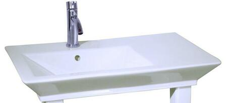 """Barclay B/96WH Opulence Small Rectangular Basin Only, with Pre-drilled Faucet Holes, Overflow, 4.5"""" Basin Depth, and Vitreous China Construction, in White"""