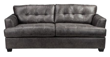 Signature Design by Ashley Inmon 6580x38 Sofa with Faux Leather, Low Melt Fiber Wrapped Over Foam and Contemporary Style