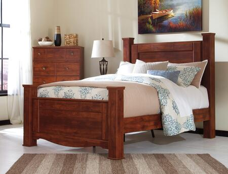 Signature Design by Ashley Brittberg Collection B265POST X Size Poster Bed with Blocky Details, Replicated Cherry Grain and Curved Footboard Base in Reddish Brown