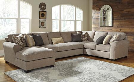 Benchcraft Pantomine 39102CHASWL 4-Piece Sectional Sofa with X Arm Facing Chaise, Armless Sofa, Wedge and X Arm Facing Loveseat in Driftwood Color