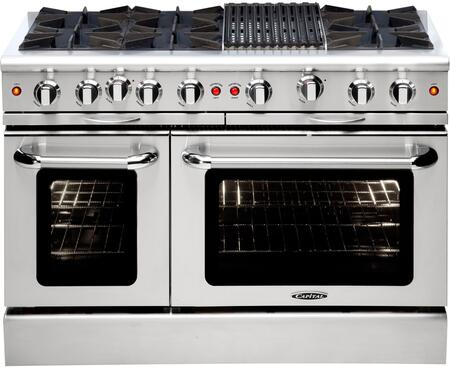 "Capital MCOR486BN 48"" Culinarian Series Natural Gas Freestanding Range with Open Burner Cooktop, 4.9 cu. ft. Primary Oven Capacity, in Stainless Steel"