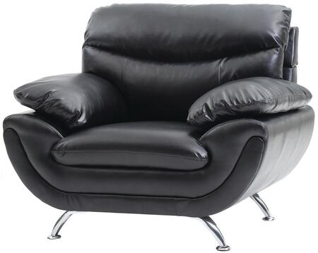 Glory Furniture G431C Faux Leather Armchair with Metal Frame in Black