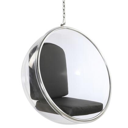 Fine Mod Imports FMI1122BLACK Bubble Series Lounge Fabric Cushion Acrylic with Polished Chrome Base Frame Accent Chair