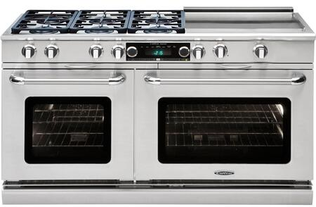 """Capital Precision Series CSB606GG-X 60"""" Freestanding Dual Fuel Electric Range with 6 Sealed Burners, Primary 4.6 Cu. Ft. Oven Cavity, Secondary 3.1 Cu. Ft. Oven Cavity, and Moto-Rotis, in Stainless Stee"""