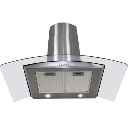 "Golden Vantage GWR73S30 30"" Wall Mount Range Hood with 760 CFM, 65 dB, Crisp Analog Push Buttons, 2W LED Lighting, 3 Fan Speed, Aluminum Grease Filter and X: Stainless Steel"