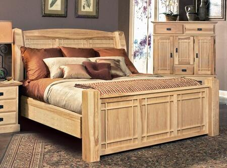 "AAmerica Amish Highlands Collection AHINT5 98"" Arch Panel Bed with Solid American Hickory Construction and Molding Details in Natural Finish"