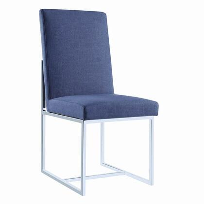 "Coaster Jackson Collection 104566 40"" Side Chair with Sled Base, Stainless Steel Construction and Fabric Upholstery in"