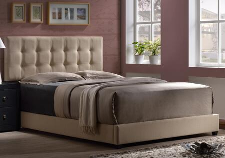 Hillsdale Furniture 1284BR Duggan Platform Bed with Rails Included, Square Tufted Headboard, Tapered Legs and Linen Upholstery in Beige Color