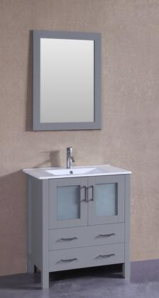 "Bosconi AGR130UX XX"" Single Vanity with White Ceramic Top, Integrated Sink, F-S01 Faucet, Mirror, 2 Doors and X Drawers in Grey"