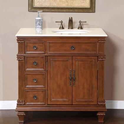 "Silkroad Exclusive HYP-0210-CM-UWC-36-X Esther 36"" Single Sink Cabinet with 2 Doors, Drawers, Crema Marfil Marble Top, Undermount White Ceramic Sinks (3-Hole) and Carved Tapered Legs in Cherry Finish"