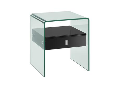 """Casabianca Bari Collection 20"""" Nightstand End Table with 1 Drawer, Glass Panels, Glass Top and Medium-Density Fiberboard (MDF) in"""