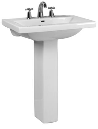 "Barclay 3-26 Mistral 510 Pedestal Lavatory, with Pre-drilled Faucet Hole 4"" Basin Depth, and Vitreous China Construction, in White"
