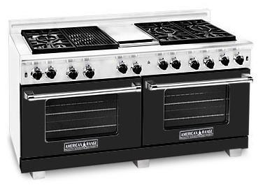 American Range ARR606GDGRBK Heritage Classic Series Natural Gas Freestanding Range with Sealed Burner Cooktop, 4.8 cu. ft. Primary Oven Capacity, in Black