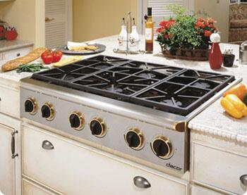 Dacor ESG366SBRLPH Renaissance Series Stainless Steel/Brass Trim Gas Sealed Burner Style Cooktop