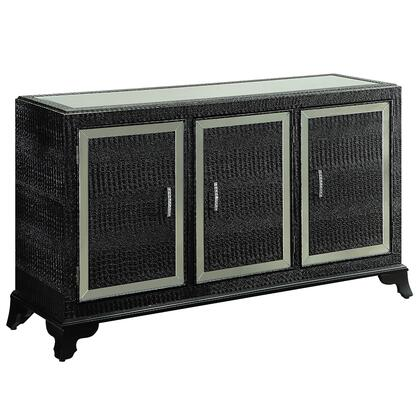 """Powell Glamour Collection 14A2019CC 60"""" Console Cabinet with 3 Doors, Glossy Crocodile Print and Full Length Mirrored Inset in"""