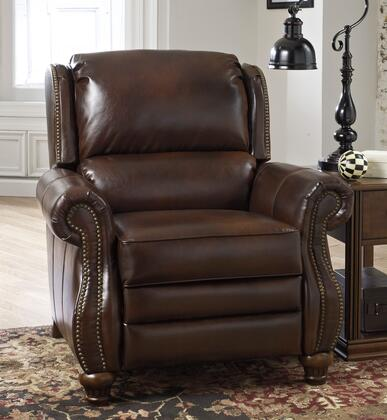 Signature Design by Ashley Elberton DuraBlend 2060X30 Low Leg Recliner with Nail-Head Trim Accents, Bustle Back Design for Support, Wooden Legs and Metal Chassis Bolted to the Arms in