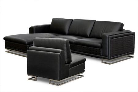 Diamond Sofa BLVDLFSECT3PCW Contemporary Bonded Leather Living Room Set