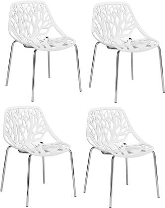 EdgeMod EM148WHIX4 Birds Nest Series Modern Metal Frame Dining Room Chair