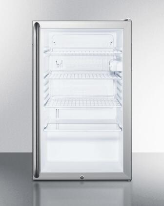 "Summit SCR450LBI7SX 20"" Commercially Approved & ADA Compliant Compact Refrigerator with 4.1 cu. ft. Capacity, Glass Door, Auto Defrost and Interior Light, in Grey"