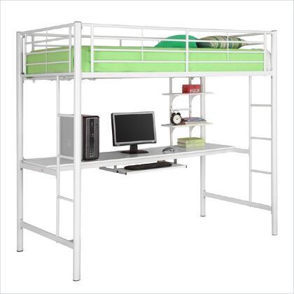 Walker Edison BTOZWH Sunrise Series Foldable Twin Size Loft Bed