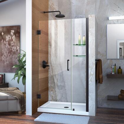 Unidoor Shower Door with Base 12 28D 12P glass shelves 09 72 WM 11 16