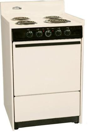 "Summit SEM611C 24""  Electric Freestanding Range with Coil Element Cooktop, 2.92 cu. ft. Primary Oven Capacity, in Bisque"