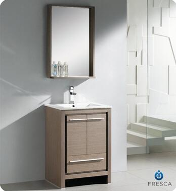 """Fresca Allier Collection FVN8125 24"""" Modern Bathroom Vanity with Mirror, Soft Closing Drawer and Integrated Ceramic Countertop and Sink in"""