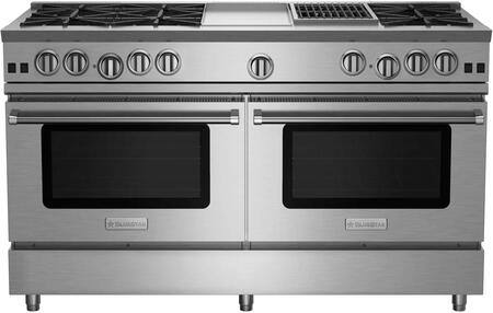 "BlueStar RNB606GCBV2X RNB Series 60"" Freestanding Gas Range with 6 Cast Iron Open Burners, 4.5 Cu. Ft. Convection Oven, 12"" Griddle/ Charbroiler, Simmer Burner, Full Motion Grates and Stainless Steel Drip Trays"