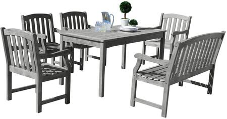 Vifah Renaissance V1297SET Outdoor Dining Set with Rectangle Table, 4-Foot Bench, Armchairs, Acacia and Hand-Scraped Hardwood Materials in Grey Color