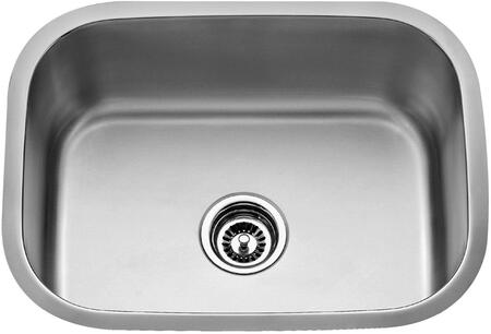 "Kraus KBU12KPF21SD20 Premier Series 23"" Undermount Single-Bowl Kitchen Sink with Stainless Steel Construction, Sound Insulation, and Included Kitchen Faucet"