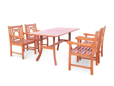 Vifah V189SET Malibu Eco-friendly Outdoor Hardwood Dining Set with Rectangle Table and Arm Chairs