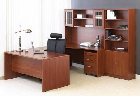 Unique Furniture 1C100010XXX Executive U Shaped Desk with Hutch and Bookcase