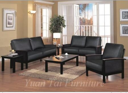 Yuan Tai 1081LBLK Caleb Series Leather Love Seat with Wood Frame Loveseat