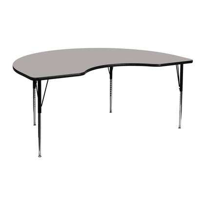 "Flash Furniture XU-A4872-KIDNY-XX-H-A-GG 48""W x 72""L Kidney Shaped Activity Table with 1.25"" Thick High Pressure Laminate Top and Standard Height Adjustable Legs"