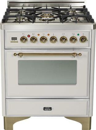 """Ilve UM76DMPY 30"""" Majestic Series Freestanding Dual Fuel Range with 5 Sealed Burners, 3.0 cu. ft. Primary Oven Capacity, Convection Oven, Warming Drawer, Oiled Bronze Trim, in"""