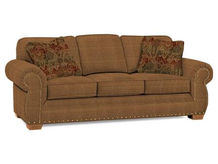 "Broyhill Cambridge Collection 5054-3QX 90"" Sofa with Fabric Upholstery, Rolled Arms, Nail Head Trim and Casual Style"