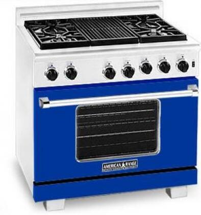 American Range ARR364GRLBU Heritage Classic Series Liquid Propane Freestanding Range with Sealed Burner Cooktop, 5.6 cu. ft. Primary Oven Capacity, in Sapphire Blue