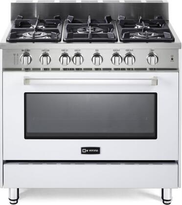 "Verona VEFSGG365W 36"" Gas Freestanding Range with Sealed Burner Cooktop, 4 cu. ft. Primary Oven Capacity, Storage in White"