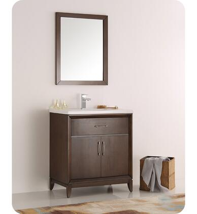 """Fresca Cambridge Collection FVN2130 30"""" Traditional Bathroom Vanity with Mirror, 2 Soft Close Doors, Tapered Legs and Integrated Ceramic Sink & Countertop in"""