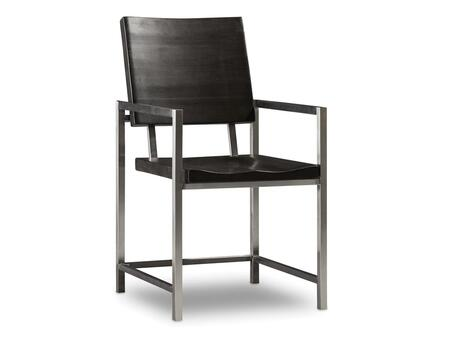 "Hooker Furniture Live Edge Series 5490-753-DKW 36.5"" Modern-Contemporary-Style Dining Room Metal and Wood Arm Chair with Stretchers and Stainless Steel Frame in Dark Wood"