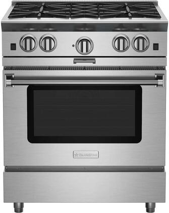 """BlueStar BSP304 30"""" Platinum Series Freestanding Range with 4 Open Burners, Interchangeable 2-in-1 Griddle Charboiler, Innovative PowR Oven, and Powerful 25,000 BTU Burner, in Stainless Steel"""