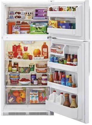 "Haier HRT18RCWx 30"" Wire Shelves Top Mount Refrigerator with 18.1 cu. ft. Capacity, Dual Knob Mechanical Control, Clear Fresh Food Crisper, in"