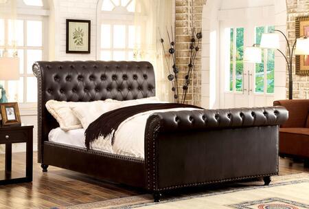 Furniture of America CM7603BRCKBED Bennett Series  California King Size Sleigh Bed