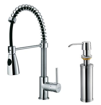 Vigo VG02003K2 Single Handle Pullout Spray Kitchen Faucet with Soap Dispenser: