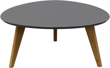 """Diamond Sofa Trio TRIOCT 36"""" Retro Cocktail Table with Medium-Density Fiberboard (MDF) Gloss Finished Top, Tapered Apron Design Detail and Solid Oak Tapered Legs in"""
