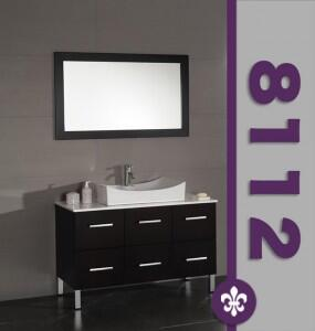 "Cambridge 8112X 47"" Wood & White Porcelain Counter Top with Oversize Porcelain Vessel Sink Set with Faucets"