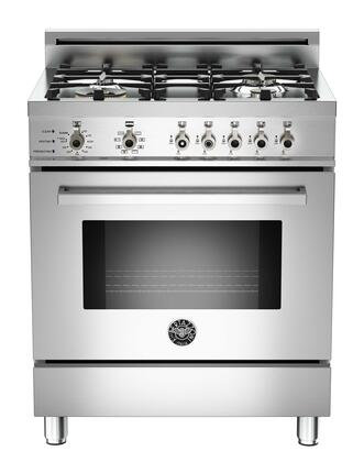 "Bertazzoni Professional PRO304DFST 30"" Natural Gas Dual-Fuel Self-Clean Range With 4 Brass Burners, 18,000 BTUs Power Burner, 3.4 cu.ft. Electric Self-Clean Convection Oven, 9 Cooking Functions & In"