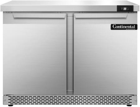 """Continental Refrigerator SW36F 36"""" Worktop Refrigerator with 10.3 Cu. Ft. Storage Capacity, Front Breathing Compressor, Aluminum Interior, Interior Hanging Thermometer, and Environmentally-Safe Refrigerant, in Stainless Steel"""