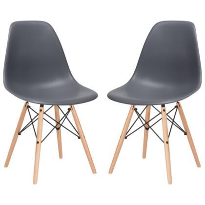 EdgeMod EM105NATGRYX2 Vortex Series Modern Wood Frame Dining Room Chair