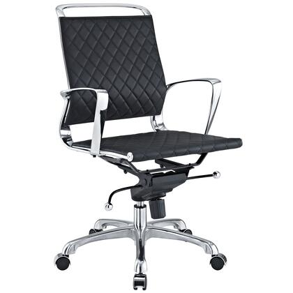Modway EEI-227 Vibe Lowback Office Chair with Modern Design, Chrome Metal Frame, Versatile Recline, Five Dual-wheel Casters, Tension Knob for Tilt Control, and Pneumatic Height Adjustment